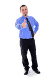 Man smiling, thumbs up in shirt and tie Stock Photo