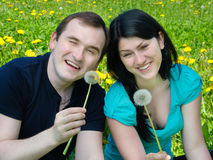 Man and smiling woman Stock Photography