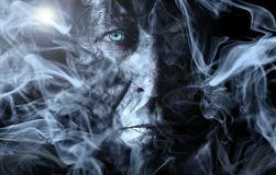 Man, Smoke, Fog, Processing Royalty Free Stock Images