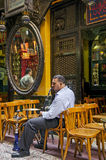 Man smoking in cairo cafe in egypt Royalty Free Stock Photo