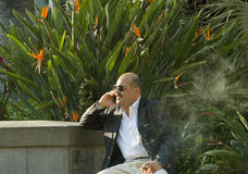 Man smoking a cigar. Royalty Free Stock Photo