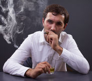 Man smoking a cigar Stock Image