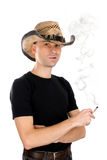 Man smoking a cigarette Stock Images