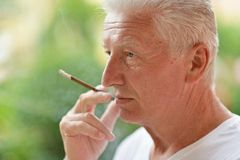 Man smoking cigarette Stock Images