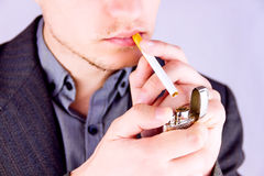 Man smoking a cigarette Royalty Free Stock Photography
