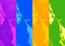 Man smoking face repeat. Hand illustration of a man smoking that has been digitally colour corrected Stock Photos