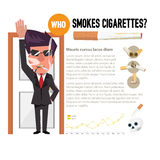 Man smoking in front of antismoking concept -  Stock Photo