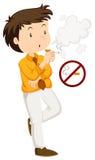 Man smoking and non-smoking sign. Illustration stock illustration