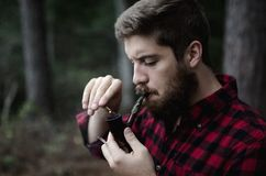 Man smoking pipe Stock Photo