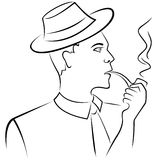 Man smoking a pipe Stock Photography