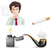 Man smoking and pipes Stock Photo