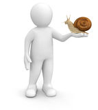 Man with snail (clipping path included) Stock Image