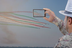 Man snapping amazing air show Royalty Free Stock Photography