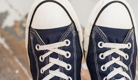Man in sneakers Royalty Free Stock Images