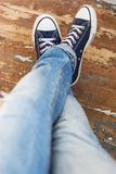 Man in sneakers Stock Photography
