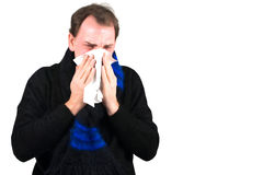 Man sneeze at cold, snorting nose Royalty Free Stock Image