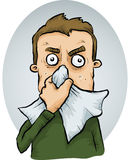 Man Sneezing. A cartoon man sneezes into a tissue Stock Images