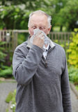 Man sneezing hay fever. Senior old man sneezing with hay fever in his garden Stock Photo