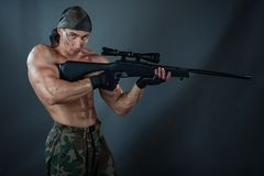 Man sniper. Royalty Free Stock Photography