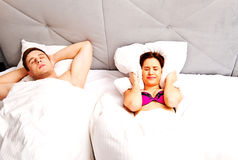 The man is snoring. Royalty Free Stock Image