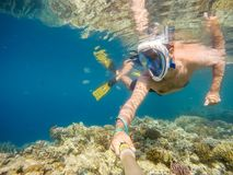 Man snorkel in shallow water on coral fish Stock Photos