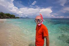 Man snorkeling in blue ocean Stock Images