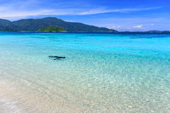 Man snorkeling in crystal clear turquoise water at tropical beac Royalty Free Stock Photography