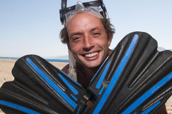 Man with snorkeling equipment Royalty Free Stock Images
