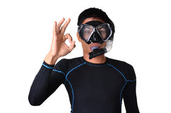 Man with snorkeling equipment isolated Stock Photography