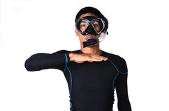 Man with snorkeling equipment isolated Royalty Free Stock Photo
