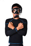 Man with snorkeling equipment isolated Royalty Free Stock Photography