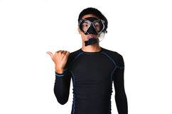 Man with snorkeling equipment isolated Royalty Free Stock Photos