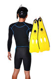Man with snorkeling equipment isolated Stock Image