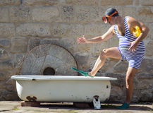 Man with snorkeling gear take bath Royalty Free Stock Images