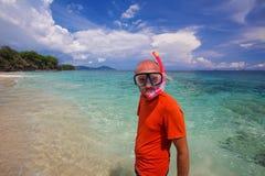Man snorkeling in Indian ocean Royalty Free Stock Image