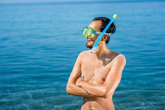 Man with snorkeling mask Stock Image
