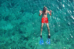 Man snorkeling at Phi Phi Island, Phuket, Thailand Stock Images