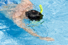 Man Snorkeling in a Pool Royalty Free Stock Photography