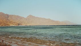 Man snorkeling in red sea, Beautiful landscape of blue sea and clear sky, waves crash against a stone coast and