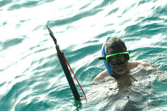Man snorkeling2. Man with under water fishing harpoon royalty free stock photo