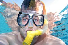 Man snorkelling in a swimming pool. On vacation and looking at camera Stock Photos