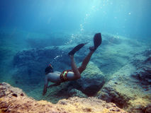 Guy snorkling in the sea. A man snorkling in the adriatic sea Royalty Free Stock Images