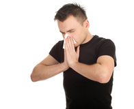 Man with snotty, runny nose Stock Photo