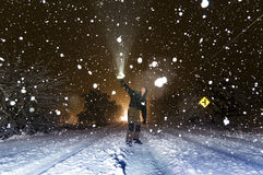 Man and snow Stock Image