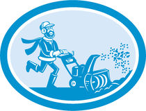 Man With Snow Blower Oval Cartoon Royalty Free Stock Image