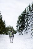 Man among snow covered pine trees Stock Photo
