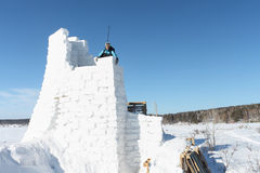 The man on snow fortress Stock Image