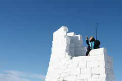 The man on snow fortress Stock Photos
