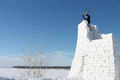 The man on snow fortress Stock Photography