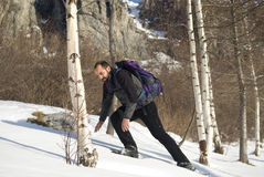 Man in snow shoes Royalty Free Stock Photography